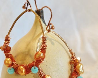 Fiber and Copper Art Teardrop Dangle Earrings Wire-wrapped with Pearls, Turquoise and Swarovski Crystals Earthy Tones