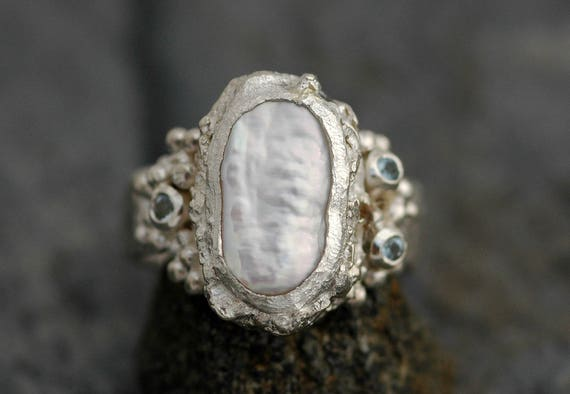 Biwa Pearl and Aquamarine in Reticulated and Hammered Sterling Silver Ring- Custom Order, Resevered