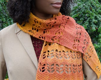 Ripples and Leave Scarf Crochet Pattern Digital Download