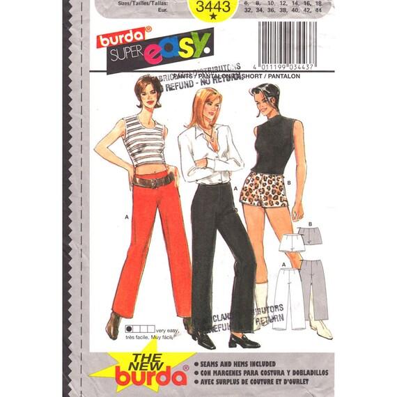 Short Shorts, Pants Sewing Pattern Burda 3443 Hot Pants Trousers Womens Size 6 to 18