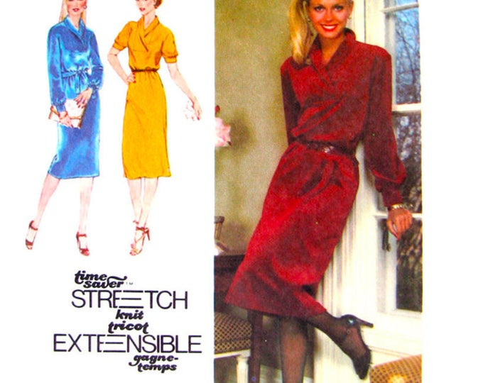 1970s Pullover Dress Sewing Pattern Simplicity 9196 Shawl Collar Long Sleeve Size 10 12 14