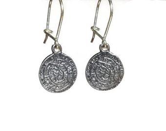 Sterling silver Minoan phaistos earrings - Greek jewelry - Phaistos earrings - Greek earring - Greek antiquity Jewelry - disc charm