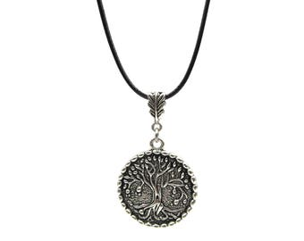 Large Round Tree of Life Medallion Adjustable Black Cord Pendant Necklace (SSNK146)