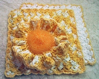 Country Kitchen Set 3 Piece - Ruffled Scrubber & 2 Dish Cloths - Handmade Cotton Yarn - Yellow / White - Great Hostess Gift - eco friendly