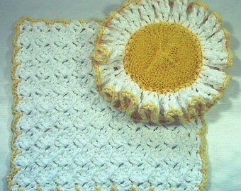 Country Kitchen Set 2 Piece Ruffled Scrubber & Dish Cloth - White and Yellow - Crocheted Cotton Yarn - Hostess Gift - Spring Cleaning