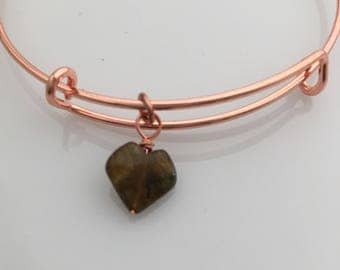 Rose Gold Adjustable Bangle with Labradorite Heart Charm - Heart Charm Bangle - Charm Bracelet - Layering Bracelet - Vampire Bracelet