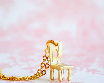 Chair Necklace Tiny Gold Chain Pendant Doll House Chair Alice in Wonderland Gift for Her Whimsical Fairy Chair Miniature Gold Toy Chair