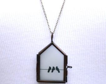 Bird Locket Pendant Blackbirds Best Friend Gift Birdhouse Necklace Gift for Her Boho Woodland Jewelry Rustic Glass Locket Forest Friends