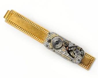 Steampunk Antique Ollendorff Watch Movement Brass Tie Bar Alligator Clip