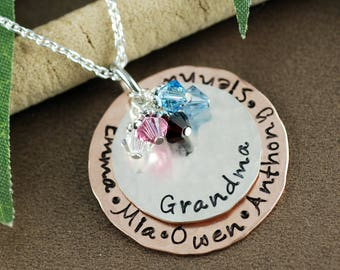 Personalized Grandma Necklace, Grandma Gift, Birthstone Jewelry, GIft for Grandma, Grandma Jewelry, Grandmother Necklace, Grandkids Names