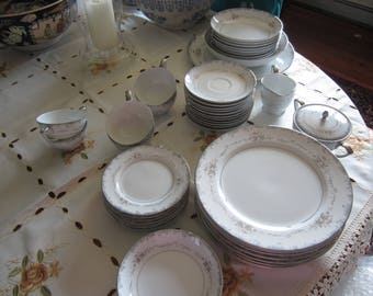 """Fifty Piece Dinner China Set. """"Rhoda"""" by Mikasa. Very Good Condition."""