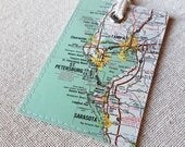 Tampa Bay Area luggage tag made with original map