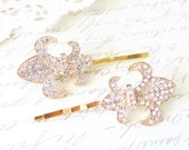 Fleur De Lis Rhinestone Hair Pins - Fleur De Lis Bobby Pins - Fleur De Lis Hair Accessories - French Hair - Paris Hair - Clear Rhinestones