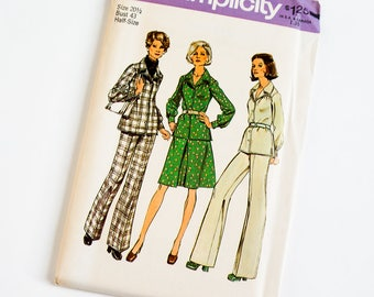 Vintage 1970s Womens Size 20.5 Two Piece Dress or Top and Pants Simplicity Sewing Pattern 6454 FACTORY Folds / b43 w37.5