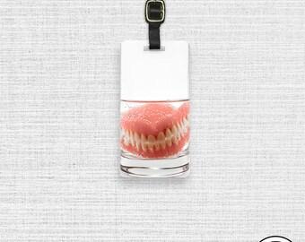Luggage Tag Funny Dentures Fake Teeth  Personalized Address Luggage Tag - Single Tag