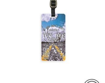 Luggage Tag Any Road will Get you There Metal Luggage Tag  With Custom Info On Back Single Tag