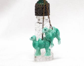 Czech IRice Mini Perfume Bottle with Dangling Camel Charms