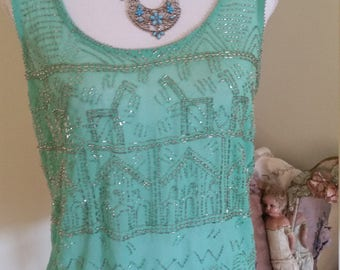 green beaded top, christmas party, new years eve, silver beaded top, art deco look, 20s costume