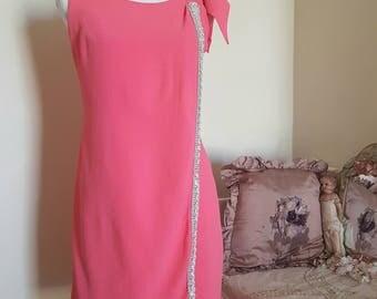 vintage 60s dress, 1960s mini dress, bow ric rac braid, sequins, small size, original vintage label, has issues TLC