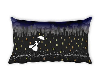 Mary Poppins Rectangular Pillow Case w/ stuffing   20 x 12