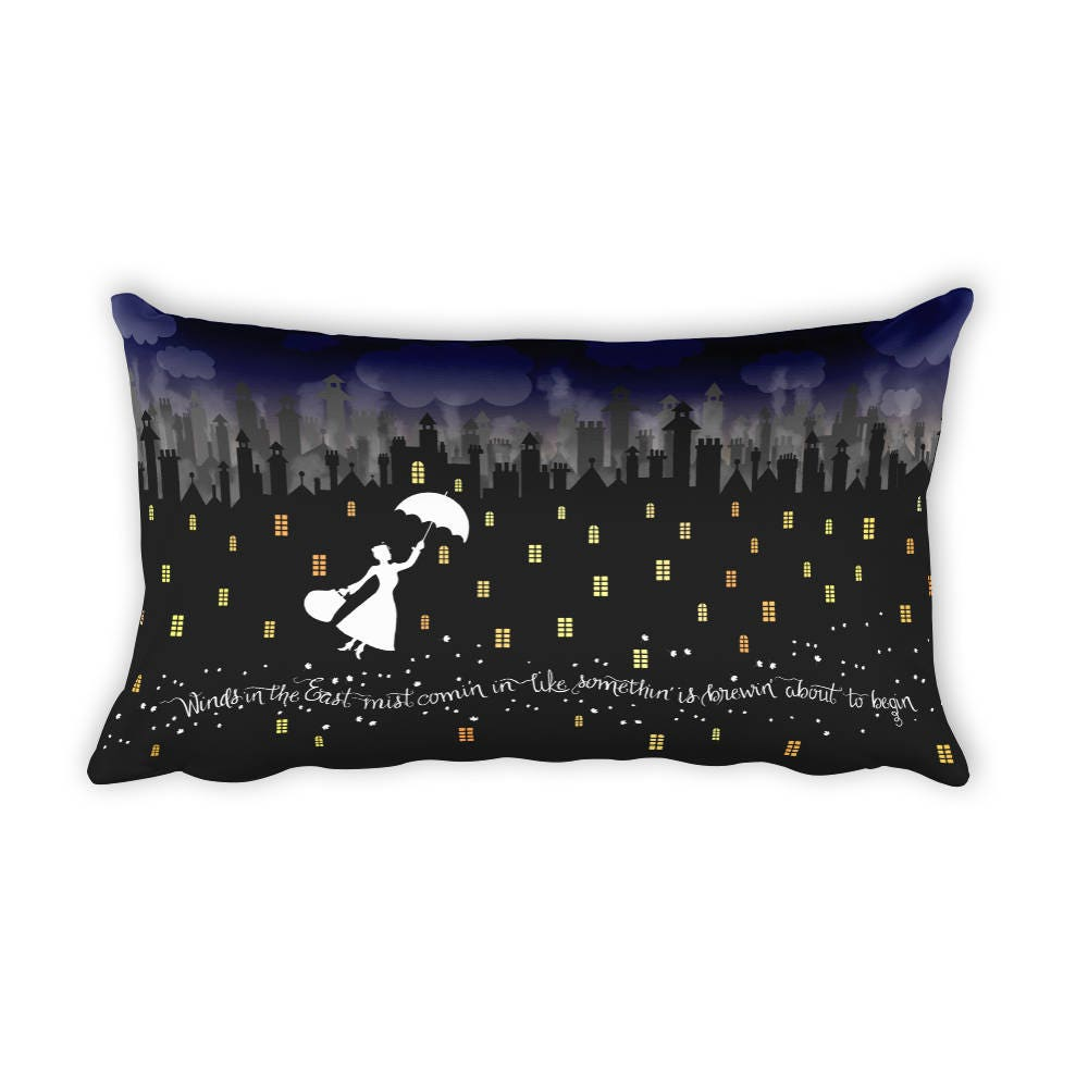 Mary Poppins Rectangular Pillow Case w/ stuffing | 20 x 12