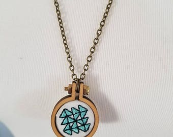 Quilter's Star Pinwheel Embroidery Hoop Necklace Mini Embroidery Hoop Necklace Gift for a Quilter Quilting