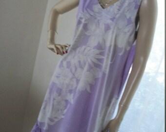 1960s 1970s Vintage Helena's of Hawaii Mu Mu Dress Sweet Pale Lavendar One Size Made in USA