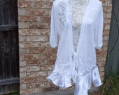 Altered Women's Knitted Top,Wedding Lace Embellished, Magnolia Pearl Style- X Large,Silky Ruffled Bottom, Shabby Chic,Romantic White Sweater