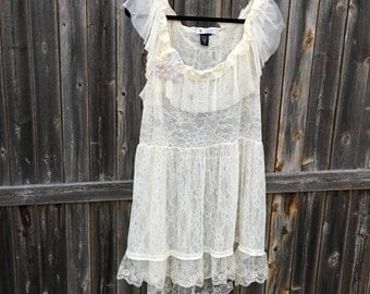 Altered Creme Lace Ruffled Tunic/Dress, Altered Couture, Medium, Shabby Chic, Romantic Dress, Lacy Romantic Tunic Detachable Shabby Flower