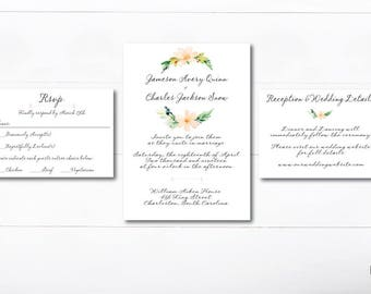 Editable and Printable Southern Handwritten Letter Wedding Invitation Template - Instant Download