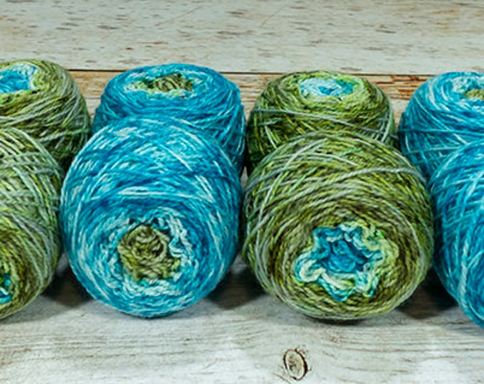 """Fraternal Shorty Sock Twins """" Mermaiden's Tale """" - Llark Handpainted Gradient Speckle Sock Yarn"""