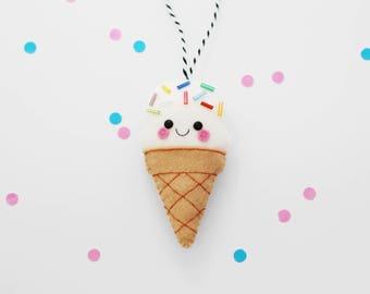 White Vanilla Ice Cream Felt Decoration, Hanging Ornament, Rainbow Sprinkles, Sweet Present