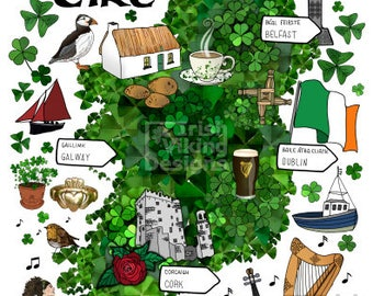 Illustrated map of Ireland, Irish art, Irish Christmas gift, Belfast, Dublin, Cork, Galway, Irish map, symbols of Ireland, Emerald Isle art