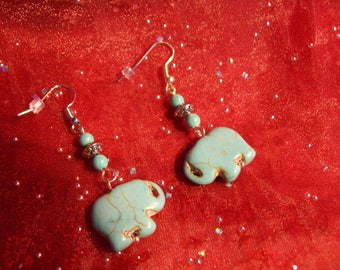 Turquoise Magnesite and Silver Elephant Earrings