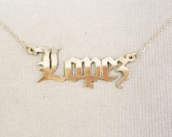 Gold Old English Name Necklace, 10k or 14k white, yellow or rose gold, best quality, made in the USA, solid gold gothic old english name