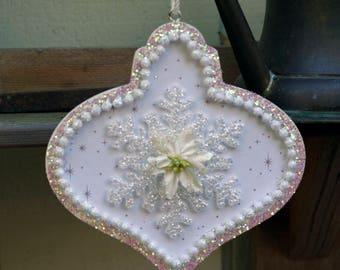 Shabby White Handmade White Snowflake Ornament