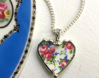 Ecofriendly recycled broken china jewelry pendant necklace antique rose chintz heart pendant made from recycled china