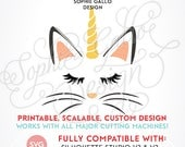 Unicorn Cat-Caticorn SVG DXF PNG digital download files for Silhouette Cricut vector clipart graphics Vinyl Cutting Machine Screen Printing