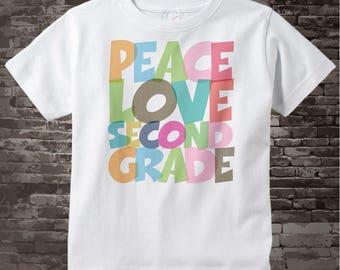 2nd Grade Shirt, Peace Love Second Grade Shirt, Colorful Second Grade Shirt Child's Back To School Shirt 07072015i