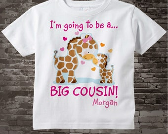 Big Cousin Shirt Outfit, I'm Going to Be A Big Cousin Shirt or Onesie, Personalized Big Cousin Shirt, Giraffe Shirt with Baby 10242015a