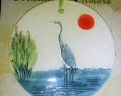 Reserved for Jane N.  ***GREAT BLUE HERON ornament medalion handmade ceramic watercolor ornament