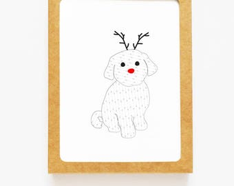 Holiday Maltese Reindeer Card for Christmas Greetings or Happy New Year Cards