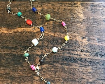 multicolor semiprecious stone necklace