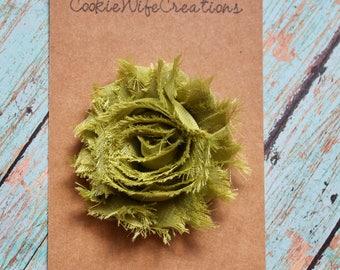 Shabby Olive Green Flower Hair Clip