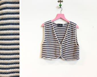 Vintage 1990s 100% Cotton Button Front Crop Top Vest Size S-M