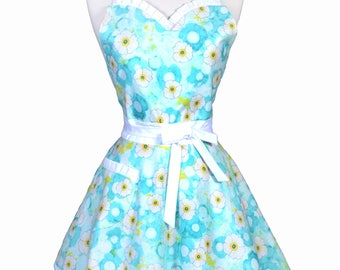 Sweetheart Pinup Womans Apron - Ocean Blue and Yellow Blossoms Floral Retro Vintage Inspired Flirty Ruffled Kitchen Apron with Pocket (DP)
