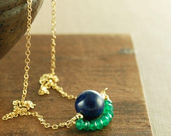 Lapis Lazuli Apatite Layered Gemstone Handmade Necklace, Colorblock Green and Blue Gemstone Necklace in 14k Gold Fill