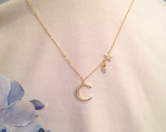 Dainty Minimalist CZ Moon Star Gold Plated Necklace Dangling Freshwater Pearl Tiny Side Hanging Star Adjusts 16 to 18 Inches Chic Layering