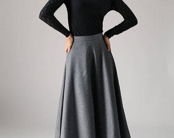 Long skirt,A line Skirt, wool skirt, gray skirt, ladies skirt, maxi skirt,flared skirt, full skirt, custom made skirt, winter skirt  (1093)