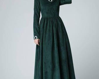 Green dress, corduroy dress, maxi dress, winter dress, bridesmaid dress, vintage dress, prom dress, wedding dress, handmade dress  1471